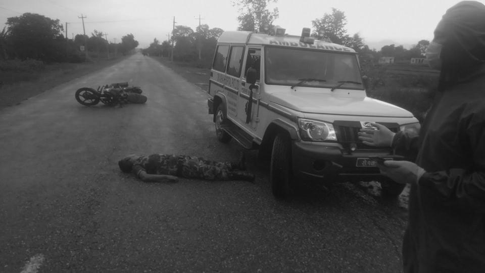 खाली बाटोमा  हुँइकिँदा सावधान : सशस्त्र प्रहरीका हवल्दार मोटरसाइकल दुर्घटनामा मृत्यु
